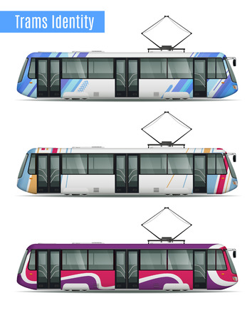 Passenger tram train realistic mockup set of three similar tram cars with different livery coloring patterns vector illustration