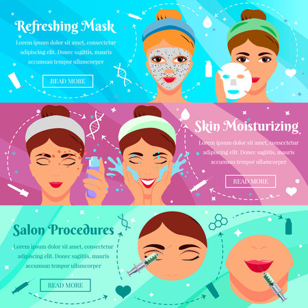 Set of flat horizontal banners cosmetic face masks and procedures of beauty salon isolated vector illustration  イラスト・ベクター素材