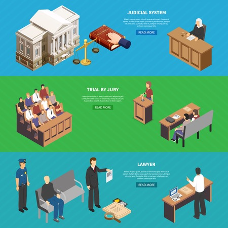 Judicial system trial 3 horizontal isometric website banners with defendants lawyer shows evidence to prosecutor vector illustration Vektorové ilustrace