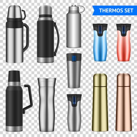 Vacuum bottles flasks insulating storage vessels for drinks food stainless steel  realistic varieties set transparent vector illustration Illustration