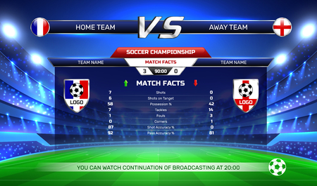 Broadcast of soccer championship, game result and statistics at screen on football stadium background vector illustration