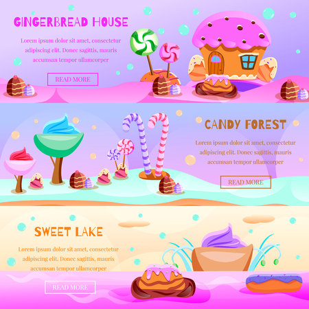 Set of flat horizontal banners fairy tale candy land on colorful background isolated vector illustration Vettoriali