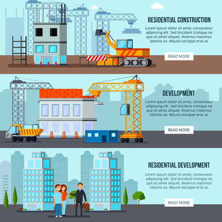 Set of flat horizontal banners sky scraper construction building site and residential development isolated vector illustration Ilustração