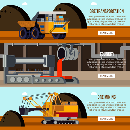 Steel production foundry work shop ore mining and transportation set of flat horizontal banners isolated vector illustration