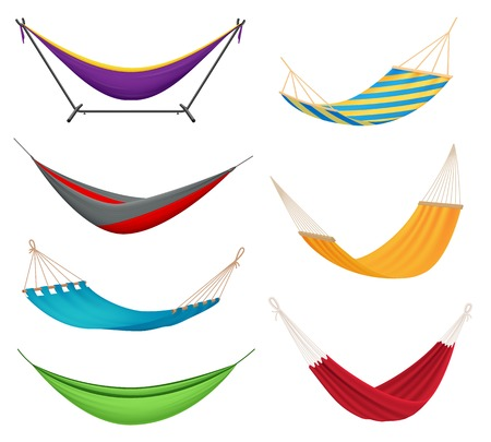 Different types colorful hanging fabric rope hammocks set with poolside attached to stands variety isolated vector illustration Çizim