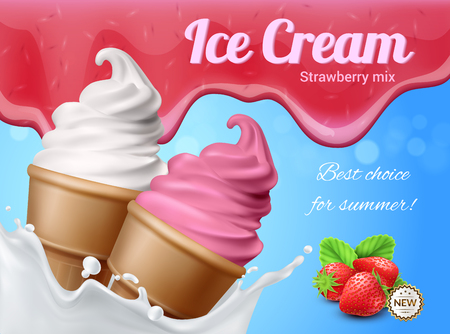 Ice cream realistic advertising composition with editable text and images of two icecream cornets with berries vector illustration Foto de archivo - 106033617