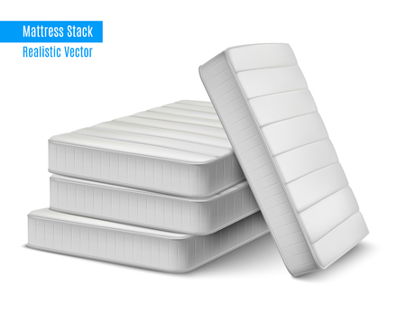 Mattress stack realistic composition with pile of white high quality sleeping mattresses with editable text vector illustration