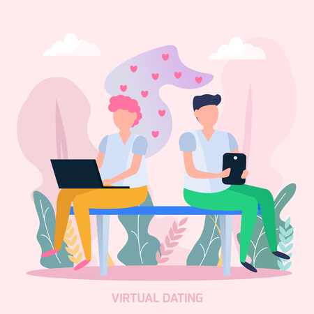 Virtually dating couple orthogonal composition with young people sending romantic love messages and heart symbols vector illustration