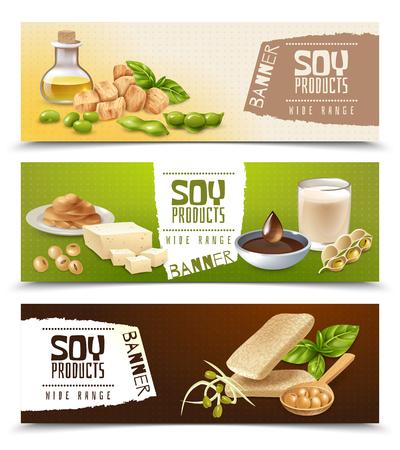 Ensemble de bannières horizontales avec des produits alimentaires à base de soja isolés sur illustration vectorielle de fond de couleur