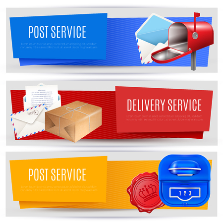 Realistic post mailbox letter banners set of three horizontal compositions with editable text images and pictograms vector illustration Illustration