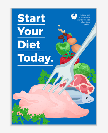 Diet poster with raw meat products and vegetables and text start your diet today cartoon vector illustration Illustration
