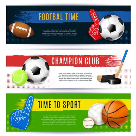 Conjunto de banners deportivos realistas de tres composiciones horizontales con pegatinas e imágenes de pelotas con ilustración de vector de texto