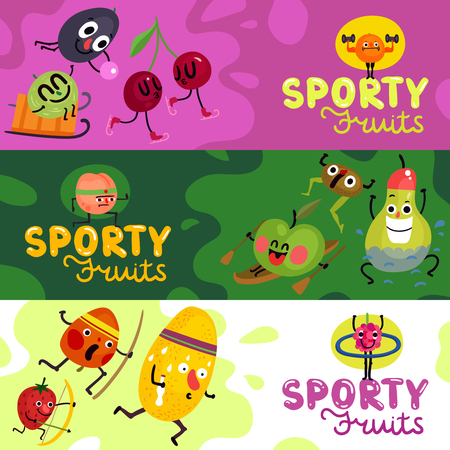 Set of horizontal banners cartoon funny fruits during sports isolated on colorful background vector illustration