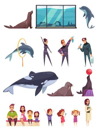 Delfinario con composizioni isolate di immagini di animali piatti e personaggi umani con illustrazione vettoriale di bambini e adulti