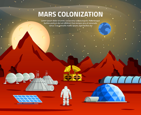 Mars colonization flat composition with spaceman on base station communication center and resource equipment vector illustration Illustration