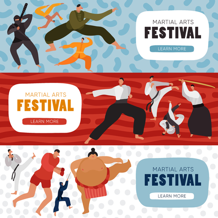 Set of horizontal banners fighters during practice at martial arts festival isolated on color background vector illustration
