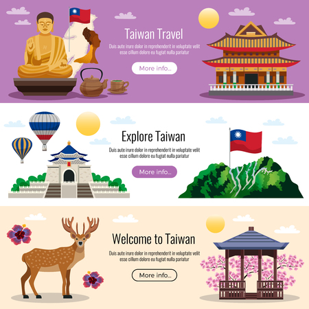 Taiwan travel 3 flat horizontal website banners with buttons for culture nature traditions attractions info vector illustration