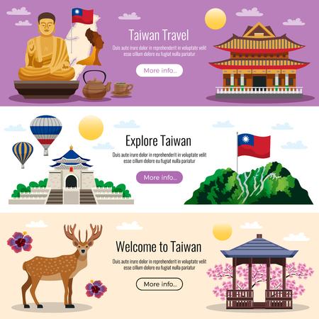 Taiwan viaggia 3 banner sito Web orizzontale piatto con pulsanti per l'illustrazione di vettore di informazioni di cultura natura tradizioni attrazioni