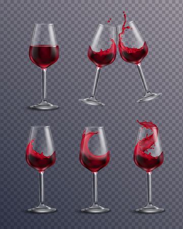 Wine splash glass realistic transparent collection of isolated drinking glasses filled with red wine and clang vector illustration