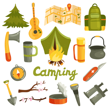 Camping equipment gear gadgets accessories icons set with tent backpack swiss knife binoculars lantern isolated vector illustration