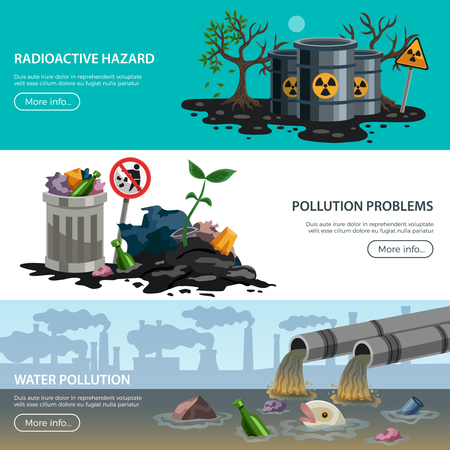 Ecological problems 3 flat horizontal banners web page design with hazardous waste air water pollution vector illustration