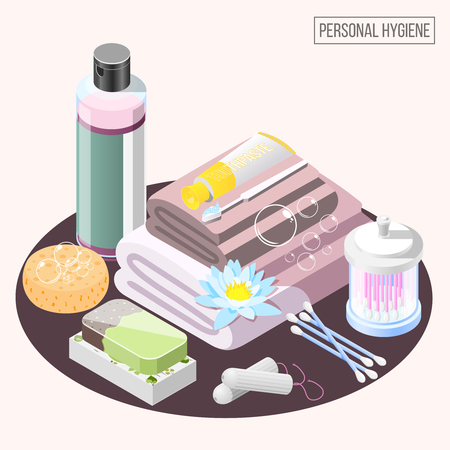Personal hygiene isometric composition with shower gel soap stack of towels ear cleaning sticks vector illustration Stock Illustratie