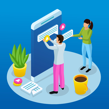 People and interfaces isometric conceptual composition with human characters mounting messaging app elements onto smartphone screen vector illustration 일러스트