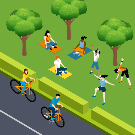 Fitness isometric composition with open air park landscape and people characters riding bicycles doing yoga workout vector illustration