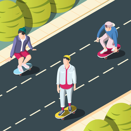 Skateboarding urban background with teenagers on skateboards riding in city streets isometric vector illustration
