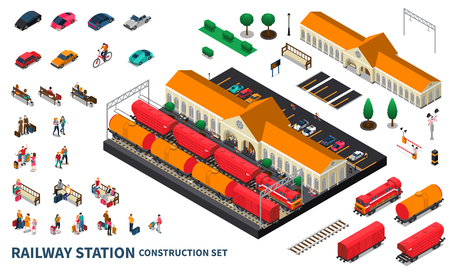 Railway station construction set of locomotive cargo tanks passengers personal car parking and city landscape elements isometric vector illustration