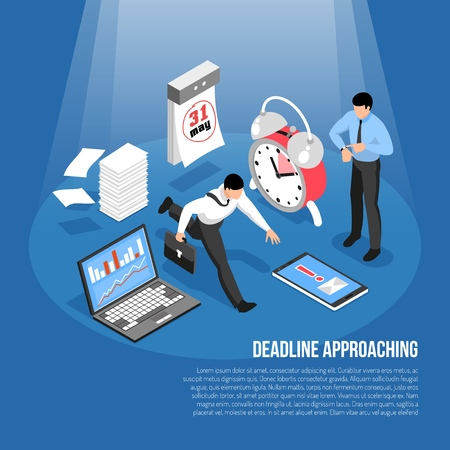Deadline approaching concept with alarm clock calendar laptop and hurrying men 3d isometric vector illustration Illustration