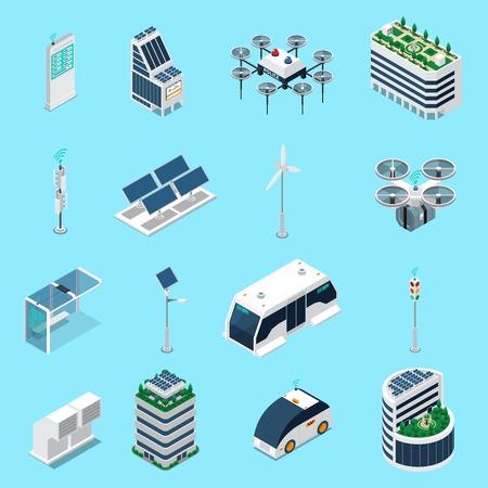 Izometryczne ikony inteligentnego miasta zestaw z symbolami transportu i energii słonecznej na białym tle ilustracji wektorowych