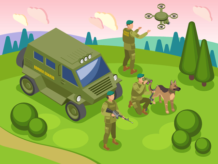 Frontier guards during border service with dog vehicle and drone with camera isometric vector illustration Illustration