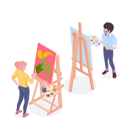Artists working on painting standing at easel in drawing studio with pallet and brushes isometric vector illustration