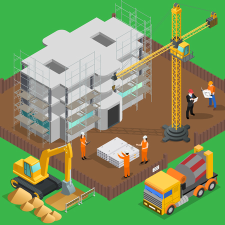 Construction isometric composition with view of high rise building yard with labor workers vehicles and machines vector illustration
