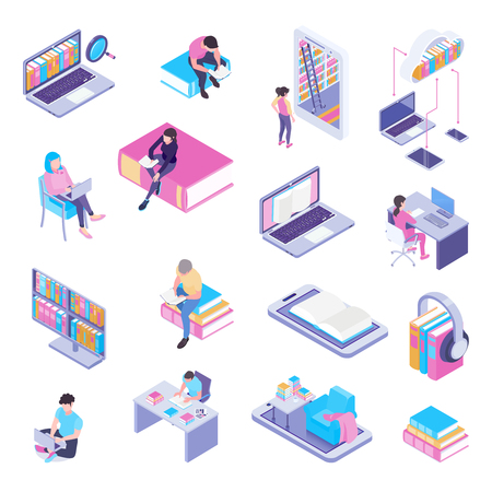 Online library isometric elements icons collection with laptop electronic catalog web page user headphones isolated vector illustration Illustration