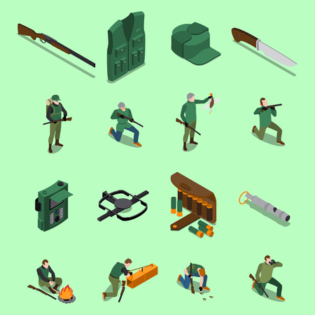 Hunting isometric icons set with equipment and weapons symbols isolated vector illustration