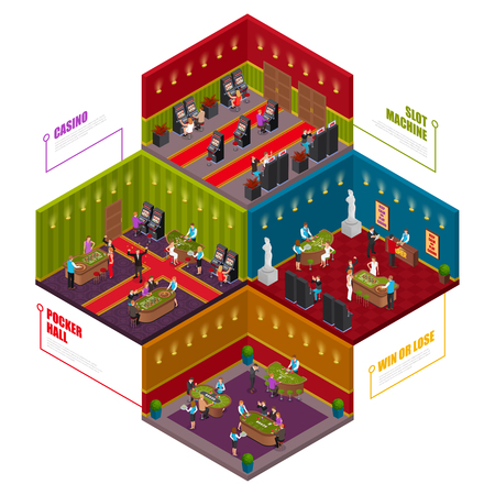 Casino 4 playing rooms for poker tournaments slot machines roulette blackjack games isometric composition advertising vector illustration
