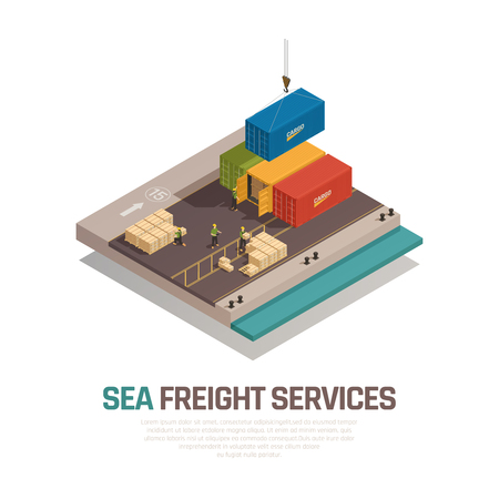 Sea freight services isometric composition with shipment cargo in containers by crane at port vector illustration Illustration