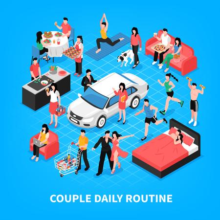 La vie quotidienne du couple cuisine et travaille ensemble danse shopping et sommeil fond bleu illustration vectorielle isométrique