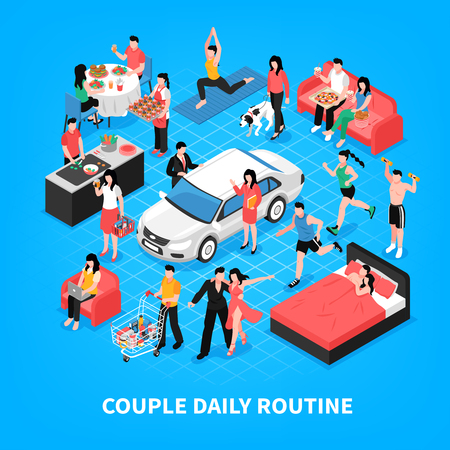Daily life of couple cooking and work together dancing shopping and sleep blue background isometric vector illustration