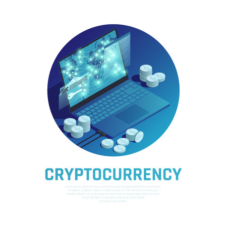 Cryptocurrency blue round composition with bitcoin stacks and blockchain technology on laptop screen isometric vector illustration 일러스트