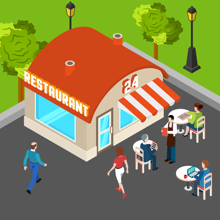 Restaurant building outside with waiter and customers at outdoor tables isometric composition vector illustration