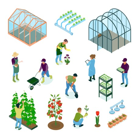 Greenhouse glasshouse hydroponic system vegetables flowers cultivation irrigation facilities isometric elements set with workers isolated vector illustration