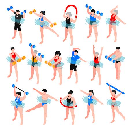 Personajes humanos con equipamiento deportivo durante la clase de aeróbic acuático conjunto de iconos isométricos aislados ilustración vectorial