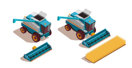 Agricultural machines isometric set with harvest and transportation symbols isolated vector illustration