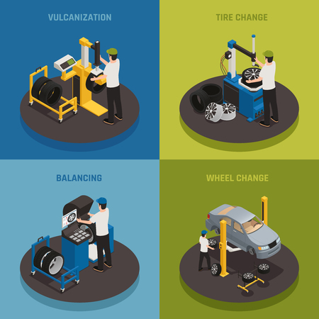 Tire production 2x2 design concept  set of vulcanization balancing wheel change square compositions isometric vector illustration