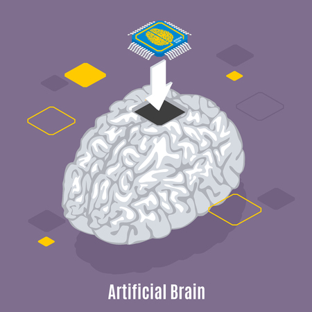 Backup personality isometric background with text and conceptual image of human brain microchip sensor implantation procedure vector illustration