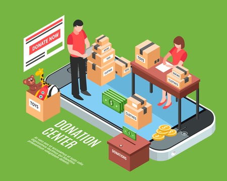 Donation center isometric composition with office employees sorting cardboard boxes of charitable gifts for needy children vector illustration