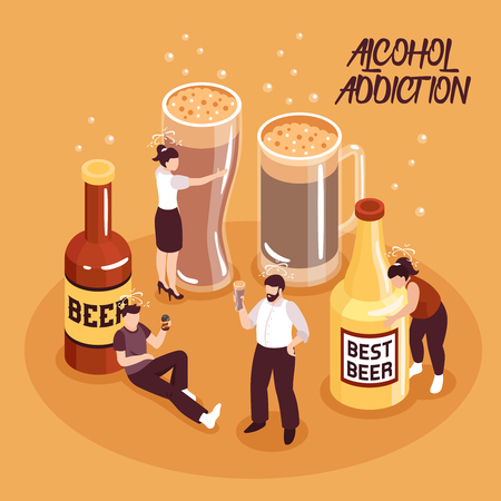 Alcohol abuse isometric composition human characters with beer in bottles and glasses on sand background vector illustration